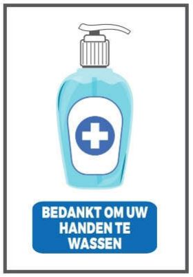 Stickers en panelen 'Bedankt om uw handen te wassen'