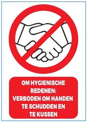 Stickers en panelen 'Om hygienische redenen: verboden om handen te schudden en te kussen'
