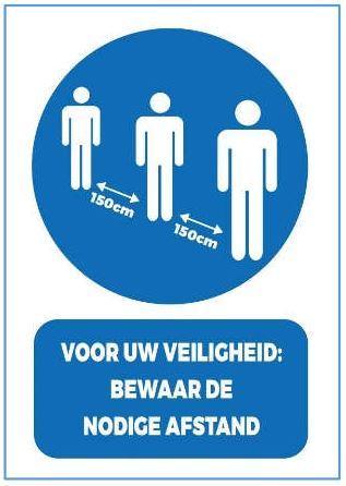 Stickers en panelen 'Voor uw veiligheid: bewaar de nodige afstand'